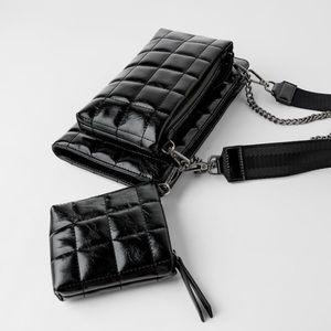 Zara black quilted triple crossbody wallet